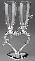 31168 Половинки сердца, серебристый, свадебные бокалы (2 шт), высота ~ 26 см, объем ~ 150 мл