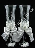32840 Angela Роза, лепка, свадебные бокалы (2 шт), высота ~ 25 см, объем ~ 190 мл