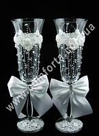 33059 Angela Дождик счастья, лепка, свадебные бокалы (2 шт), высота ~ 25 см, объем ~ 190 мл