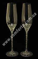 33128 Чаша любви, бокалы свадебные с кристаллами Сваровски (2 шт), высота ~ 26,5 см