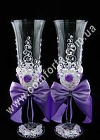 33142 Angela Бутон розы, кристаллы, свадебные бокалы сиреневые (2 шт), высота ~ 25 см, объем ~ 190 мл