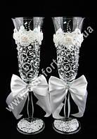 33143 Angela  Завиток, кристаллы, свадебные бокалы белые (2 шт), высота ~ 25 см, объем ~ 190 мл