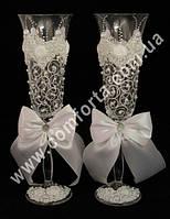 33220 Angela  Завиток, жемчуг, свадебные бокалы (2 шт), высота ~ 25 см, объем ~ 190 мл
