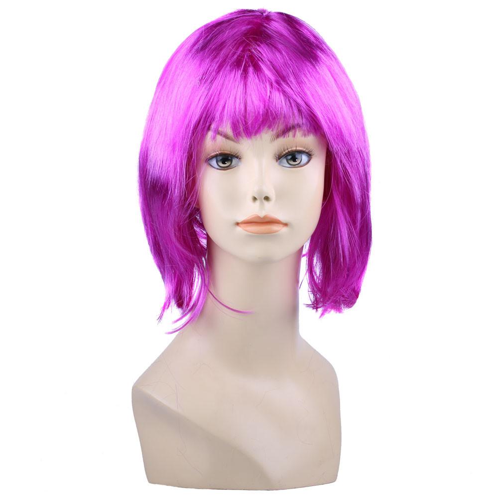 Парик боб-каре с челкой фиолетовый