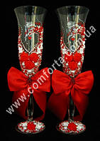 33453 Angela Сердце, бисер, свадебные бокалы красные (2 шт), высота ~ 25 см, объем ~ 190 мл