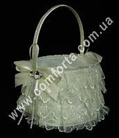 33553-01 Кружево, корзинка для лепестков кремовая (высота - 26 см, диаметр - 21 см)