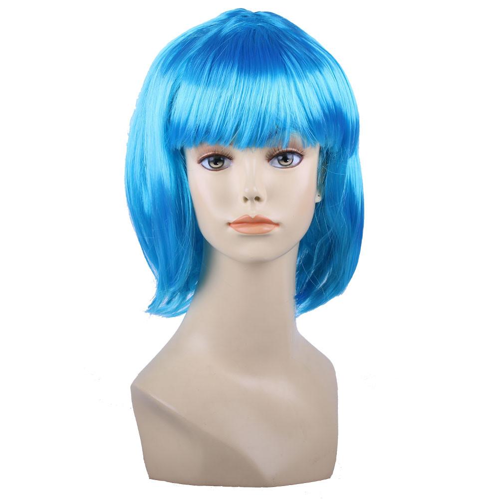 Парик боб-каре с челкой голубой
