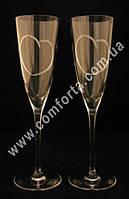 33882 FR Хрустальные сердца, свадебные бокалы для шампанского (2 шт), высота ~ 23,5 см, объем ~ 190 мл