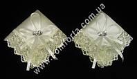 33559-01 Сердечки, набор платочков для венчания кремовый (2 шт)