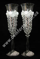 34043 Angela Завиток, жемчуг, свадебные бокалы (2 шт), высота ~ 25 см, объем ~ 190 мл