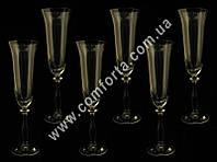29208-06 CZ Angela, набор бокалов для шампанского без декора (6 шт), высота ~ 25 см, объем ~ 190 мл