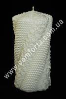 33492 Волна жемчуг с розами белая, h ~ 15 см, d ~ 7,5 см, свадебная свеча семейный очаг