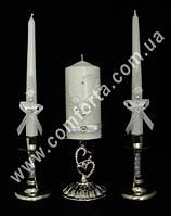33498 Сердце, бисер, свадебные свечи для семейного очага (3 шт) белые