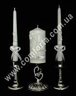 33499 Два сердца, жемчуг, свадебные свечи для семейного очага (3 шт) белые