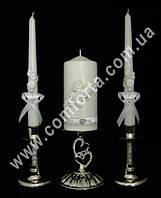 33503 Лента из роз, свадебные свечи семейный очаг (3 шт) белые