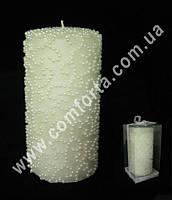 33199-01 Бисер кремовый, высота ~ 15 см, свеча свадебная семейный очаг