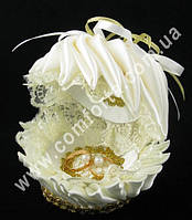 32587-01 Ракушка средняя, коробочка для колец кремовая, свадебный аксессуар