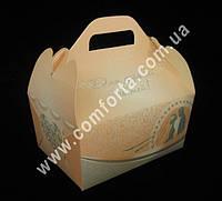 33944 Молодожены, коробка для каравая персиковая, размеры ~ 15,5 х 10 х 15,5 см