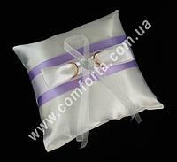 32555-07 Атласная лента, подушечка для колец сиреневая, размеры ~ 16 см х 16 см