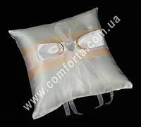 32555-05 Атласная лента, подушечка для колец персиковая, размеры ~ 16 см х 16 см