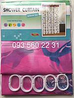 """Шторка для ванной (зонтичная ткань) """"Дельфины"""" ,цвет-розовый, фото 1"""