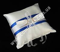 32555-13 Атласная лента, подушечка для колец синяя, размеры ~ 16 см х 16 см