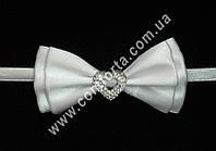 33561 Сердечко, бантики с завязкой  белые (20 шт), декор свадебный