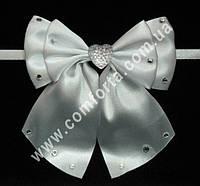 33563 Сердце, банты с завязками белые (2 шт), декор свадебный