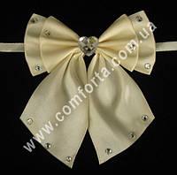33563-01 Сердце, банты с завязками кремовые (2 шт), декор свадебный