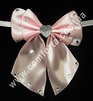 33563-03 Сердце, банты с завязками розовые (2 шт), декор свадебный