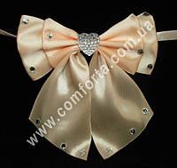 33563-05 Сердце, банты с завязками персиковые (2 шт), декор свадебный