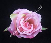 33155-03 Головка розы маленькая розовая, d-6см, цветок искусственный