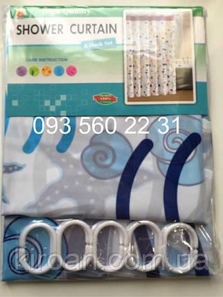 """Шторка для ванной (зонтичная ткань) """"Ракашки"""" ,цвет белый с синим, фото 2"""