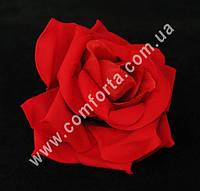 25988 Головка розы красная бархатная, диаметр ~ 9 см, цветок искусственный