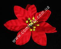 25997 Пуансеттия красная бархатная, диаметр ~ 12 см, цветок искусственный