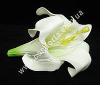 26012 Головка лилии белая латексная, диаметр ~ 14 см, цветок искусственный