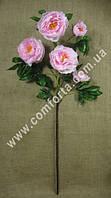 33851-03 Ветка пиона розового (5 голов), высота ~ 120 см, цветок искусственный
