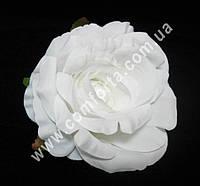 34033 Головка розы белая, диаметр ~ 9 см, цветок искусственный