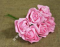 32390-03 Букет роз из латекса (6шт), розовый, размеры 1 головки ~ 6 см (диаметр) х 5,5 см (высота)