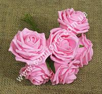33408-03 Букет роз из латекса (6 шт), розовый,  размеры 1 головки ~ 8 см (диаметр) х 4,5 см (высота)