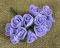 34010-07 Букетик роз из латекса (12 шт), сиреневый, размеры 1 головки ~ 2 см (диаметр) х 2 см (высота)