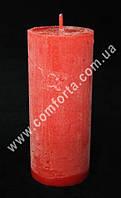 25875-11 Цилиндр, свеча декоративная красная, размеры ~ 5,5 см х 13 см, время горения ~ 26 часов