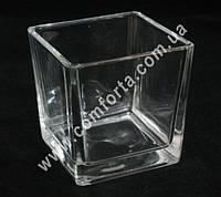 33303 Квадрат, размеры ~ 10 см х 10 см х 10 см, ваза стеклянная