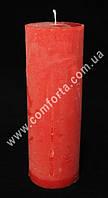 25904-11 Цилиндр, свеча декоративная красная, размеры ~ 5,5 см х 16 см, время горения ~ 32 часа