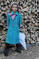 Детское  кашемировое пальто для девочки Китти бирюзовое