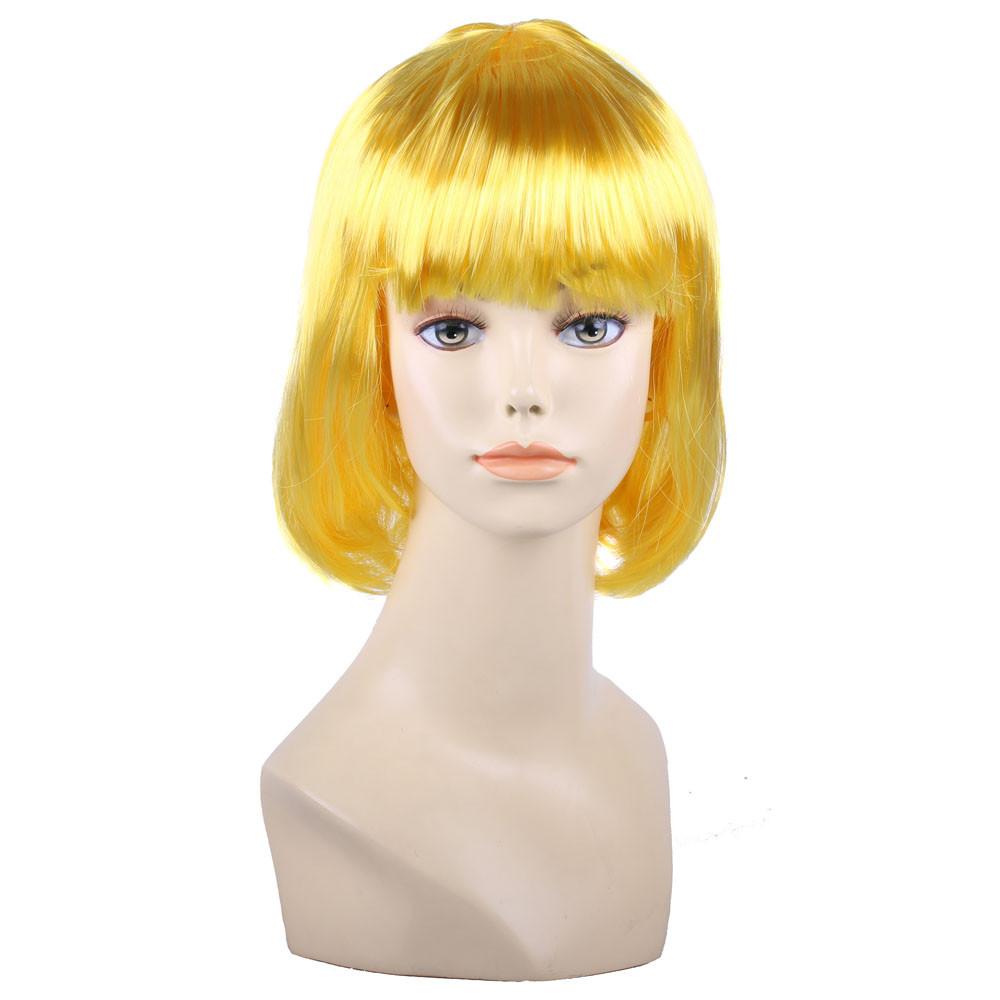 Парик боб-каре с челкой желтый