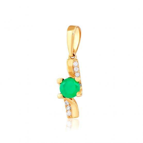 Золотой подвес с  зеленым ониксом