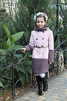 Кашемировое пальто для девочки с капюшоном Милена утепленное
