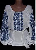 Женская вышиванка с голубой вышивкой, фото 1