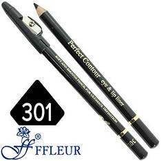 Ffleur - Карандаш ML-300 для глаз дерево с точилкой Тон №301 black матовый